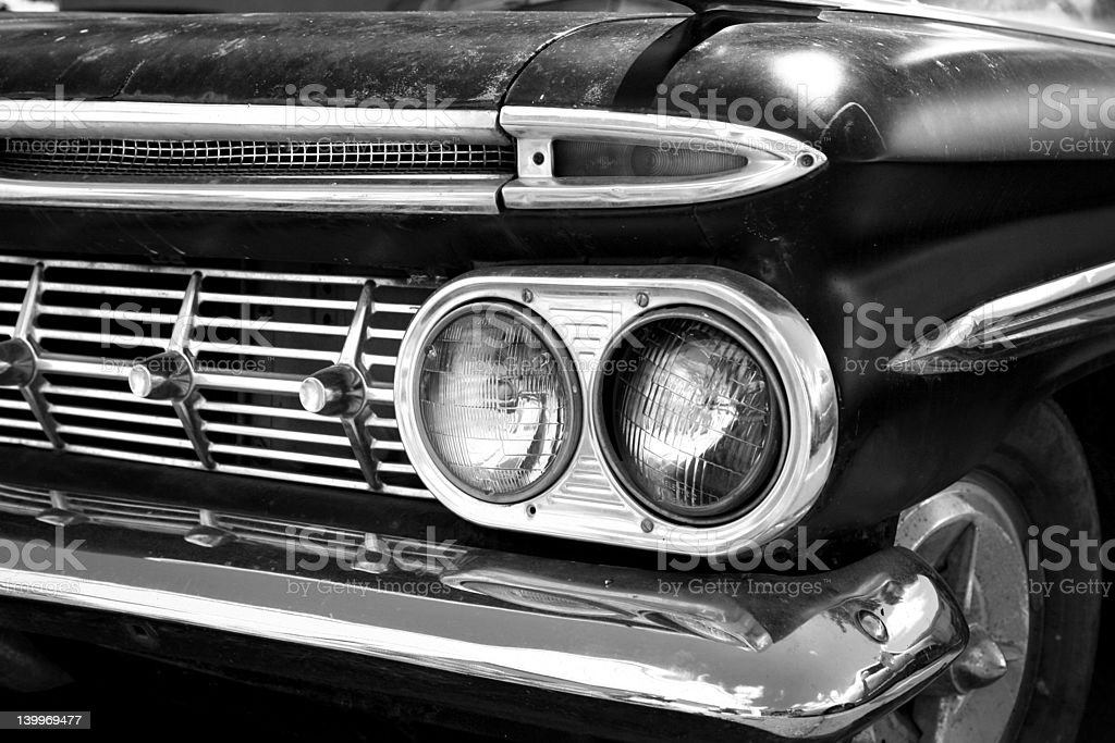 Black & white - Vintage car front grill stock photo