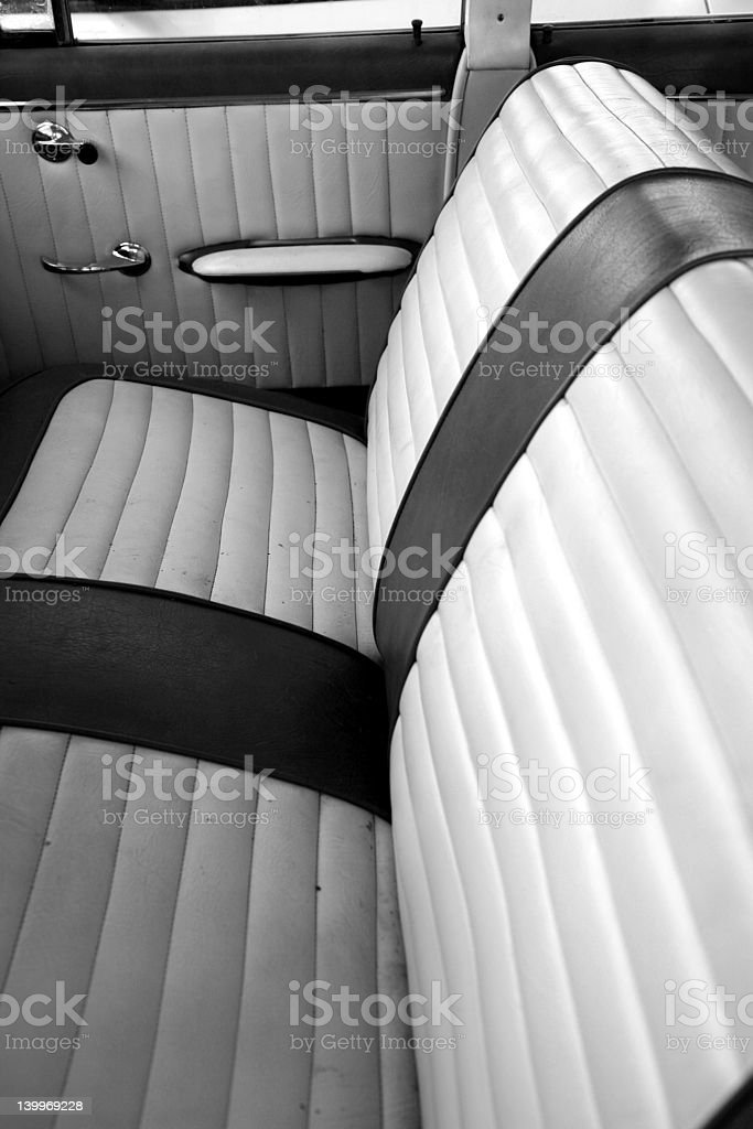 Black & white - Vintage car seats stock photo