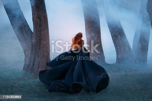 black widow in a long dark silk lace dress, a girl with gorgeous light red hair runs off into a secret forest, the sorceress turns into a wild flower, queen of night hiding from the morning sunlight.