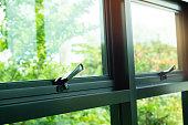 Closeup Black Window Latch Handle. Lock a window.