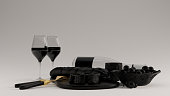 Black Wine an Glass Bottle with a Cork and Wine Glasses Stop Cheese an Bread Gold Knife and Fork Bowl of Olives 3d illustration 3d render