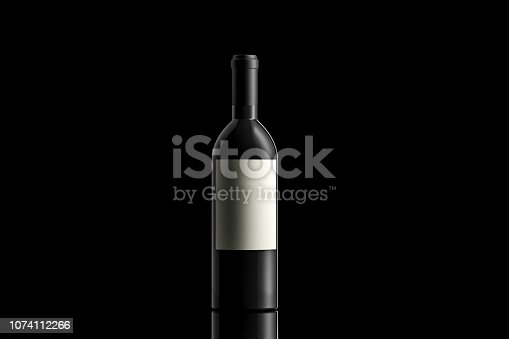 Studio shot of a Black wine bottle on black background with a reflection and copy space.