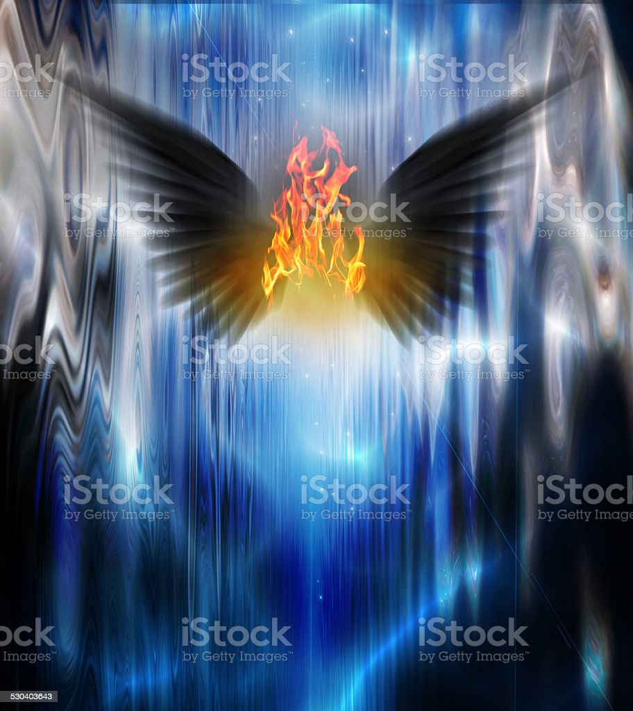 Black winged being of fire stock photo