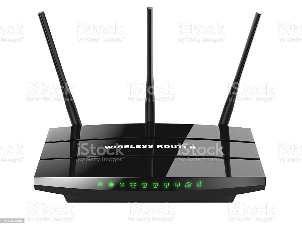 Black wireless router Wi-Fi stock photo