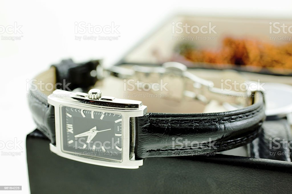 black with silver female watch in a jewelery case royalty-free stock photo