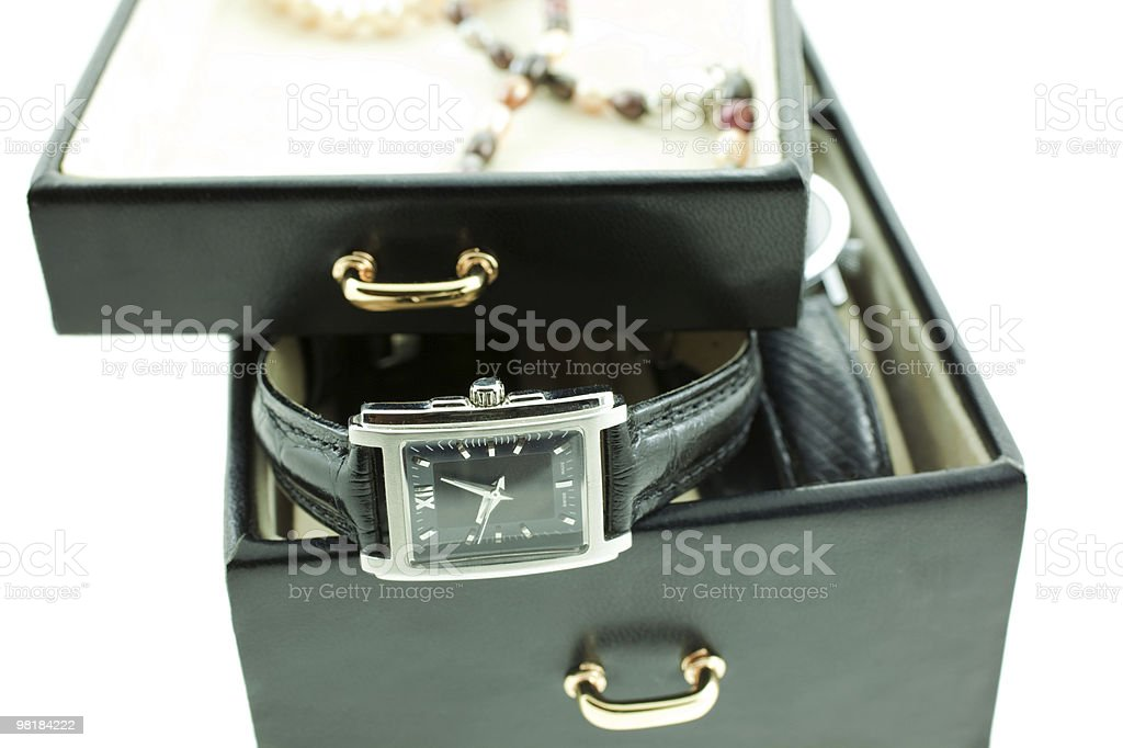 black with silver female watches in a jewelery case royalty-free stock photo