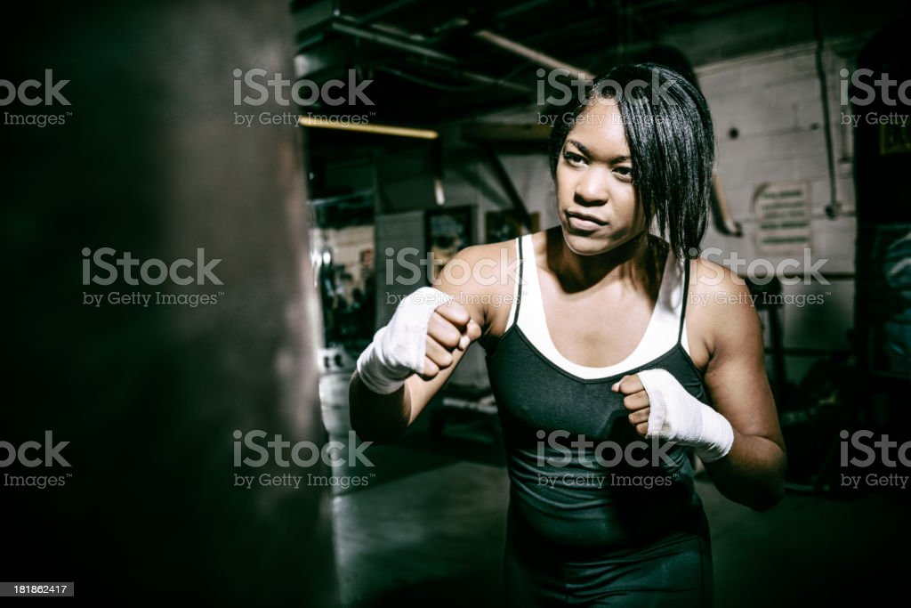 Black Woman Boxing stock photo