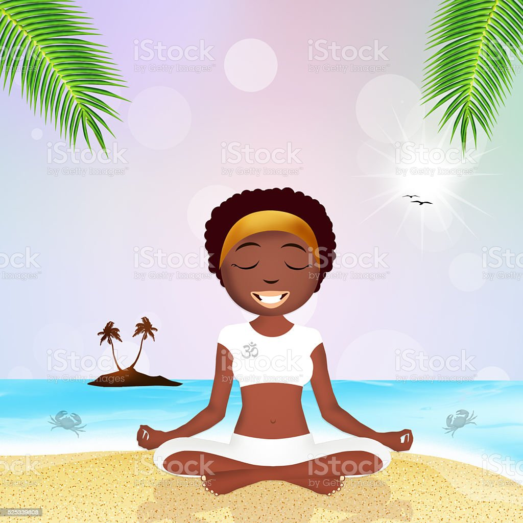 black woman doing yoga on the beach stock photo