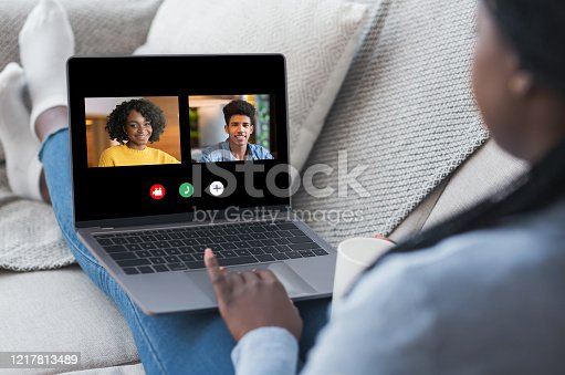 Group Video Chat. African American Woman Having Online Conference Call On Laptop With Friends, Communicating In Internet During Quarantine Isolation