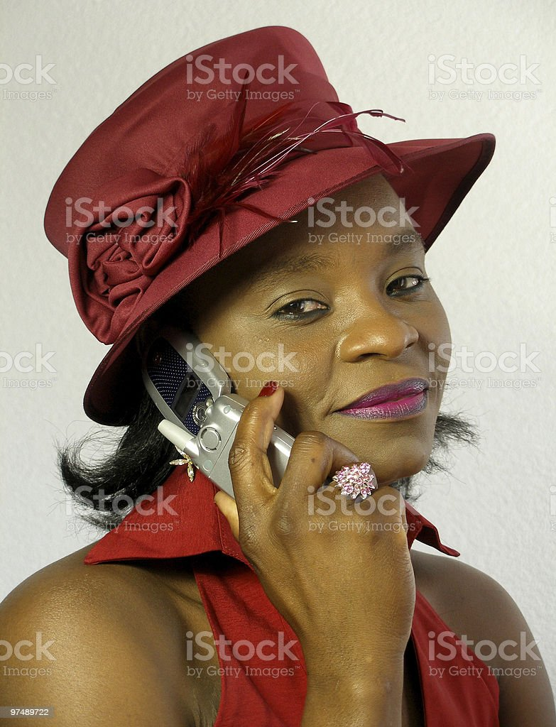 Black woman is calling royalty-free stock photo