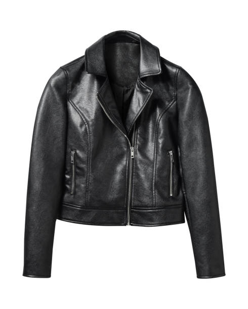 Black woman leather jacket isolated on white Black woman leather jacket isolated on white blazer jacket stock pictures, royalty-free photos & images