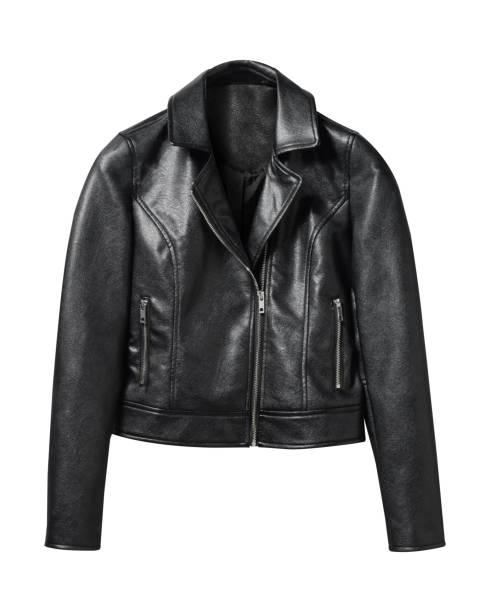 zwarte leren jas geïsoleerd op wit - men blazer stockfoto's en -beelden