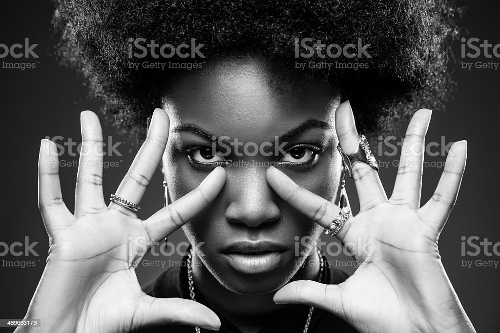 Black woman with afro hair style stock photo