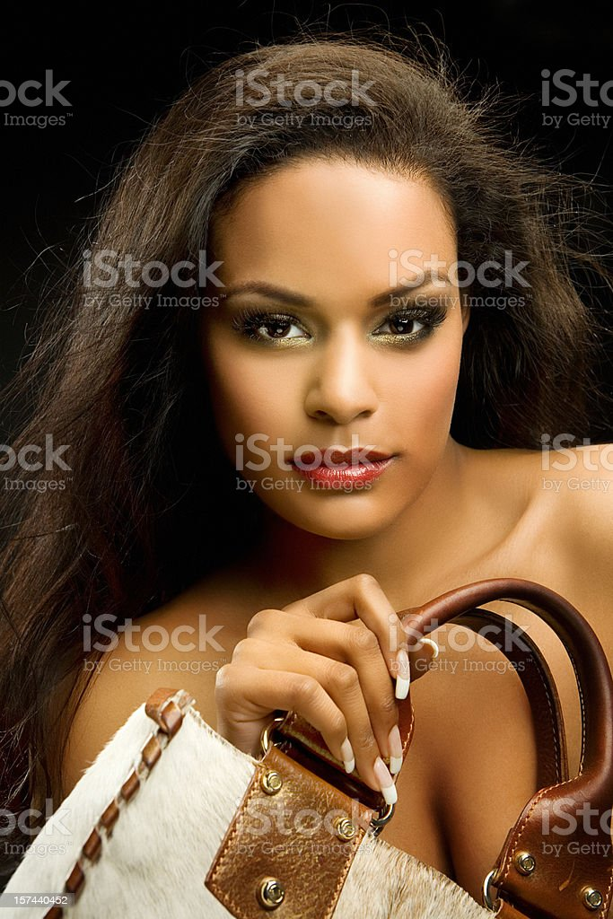 black woman with bag royalty-free stock photo