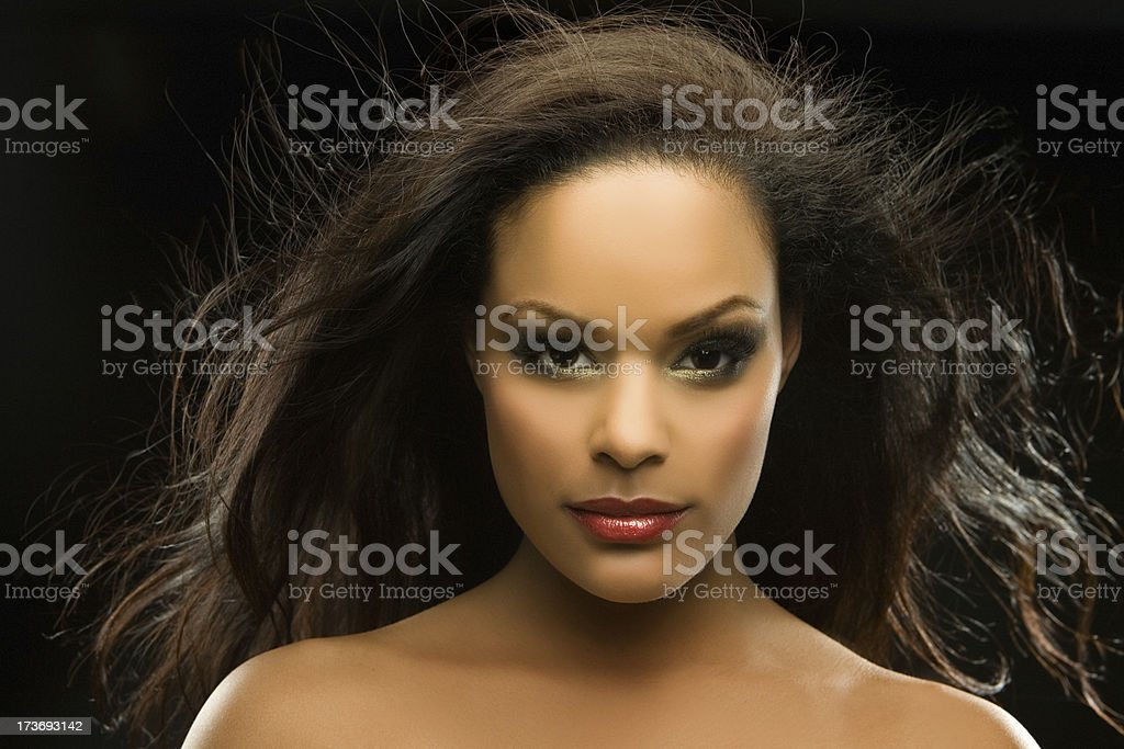 black woman with flying hair royalty-free stock photo