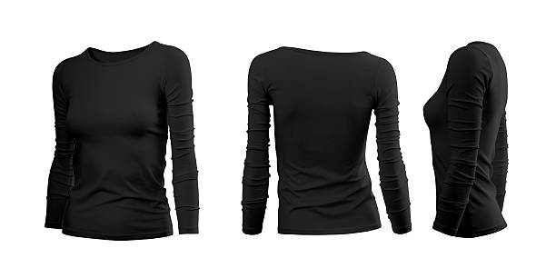 Black woman's T-shirt with long sleeves Black woman's T-shirt with long sleeves with rear and side view on a white background long sleeved stock pictures, royalty-free photos & images