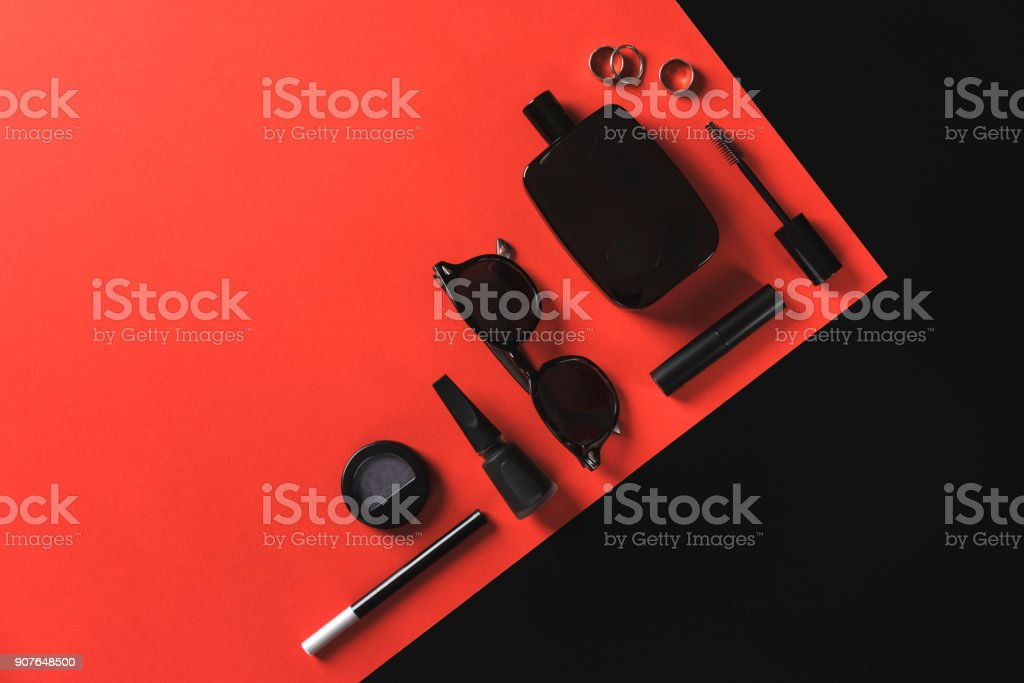 Black women fashion accessories on red background stock photo