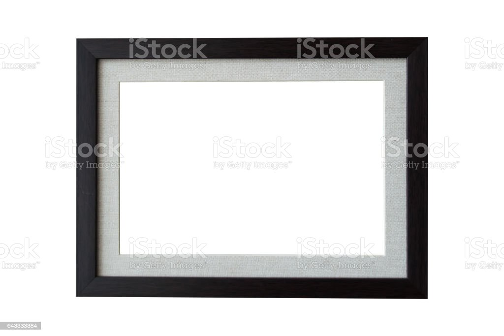 Black wood frame isolate on white background stock photo