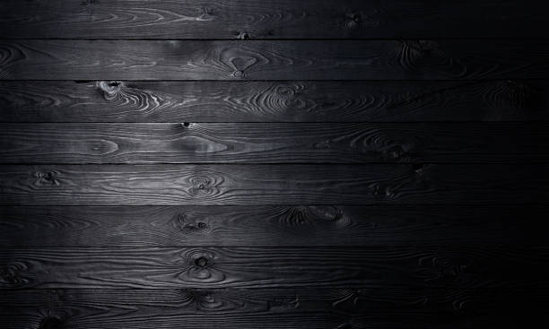 Black wooden background, old wooden planks texture stock photo