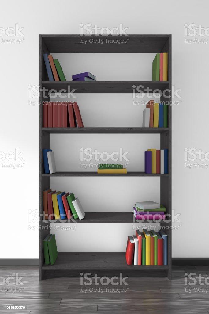 Foto de Estante De Madeira Preta Com Muitos Livros