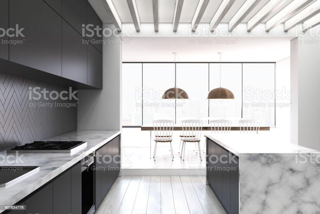 Schwarze Kuche Aus Holz Marmor Bar Stock Fotografie Und Mehr Bilder