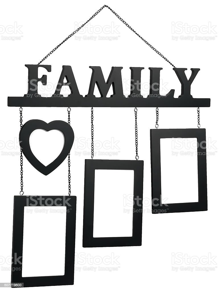 Black wooden photo frame with text Family stock photo