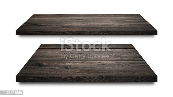642100994 istock photo Black wooden shelves isolated on white background. Blank wood shelf or product display. ( Clipping path ) 1159171688