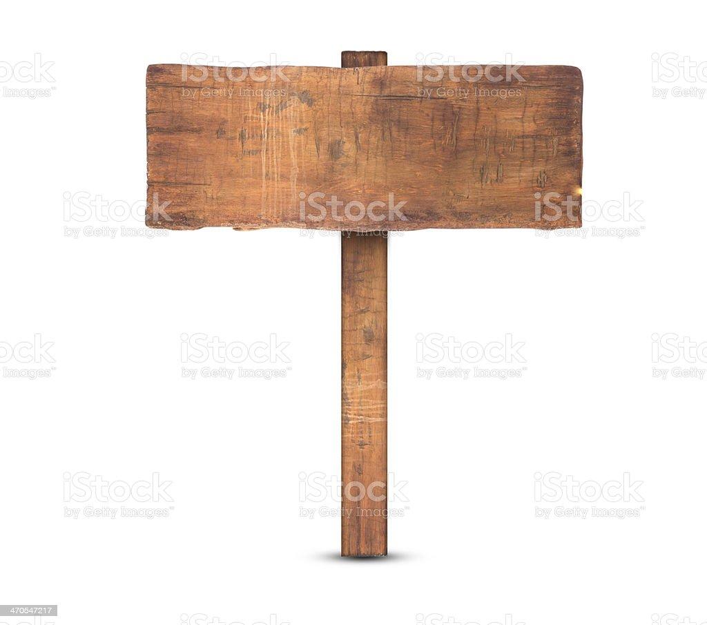 Black wooden sign on white background stock photo