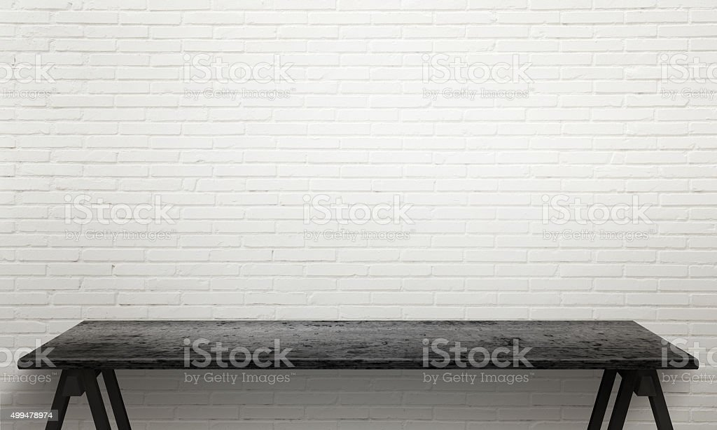 Black wooden table with legs stock photo
