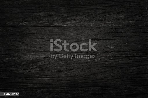 istock Black wooden wall background, texture of dark bark wood with old natural pattern for design art work, top view of grain timber. 904431532