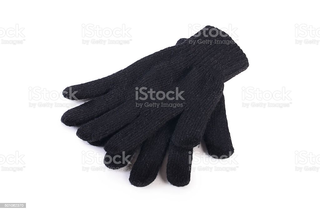 Black woolen gloves isolated on white stock photo