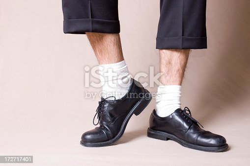 dress shoes with white socks and short pants