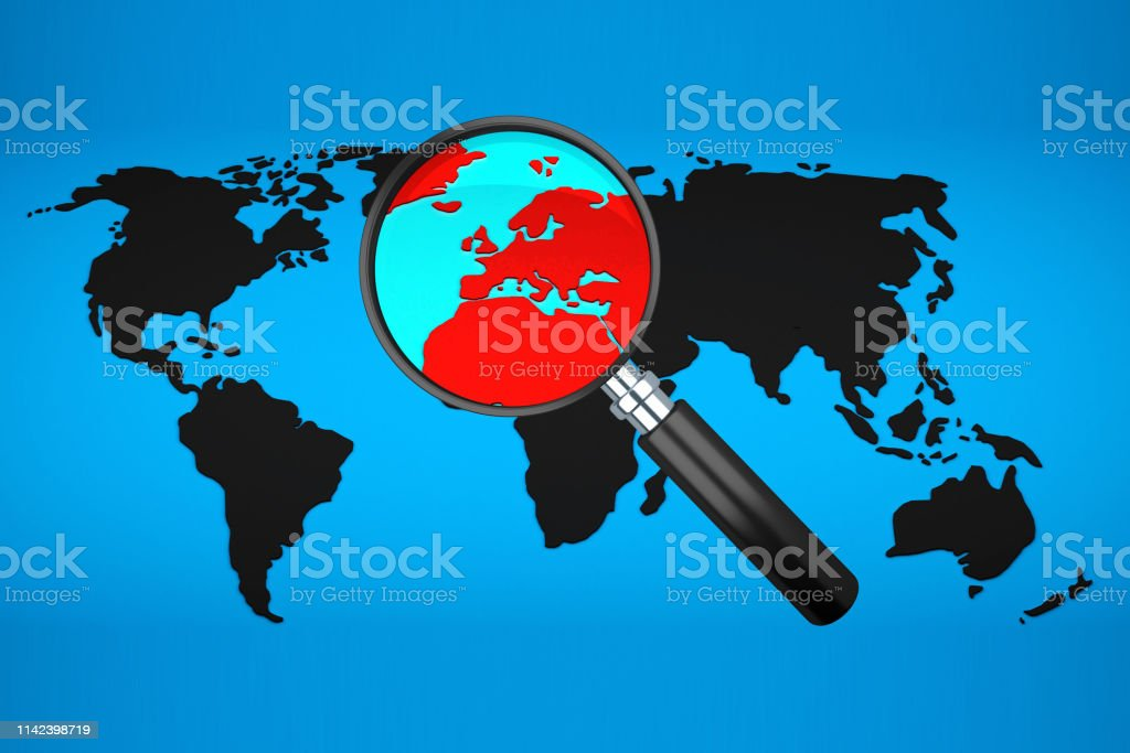 black world map with magnifying glass. 3d rendering