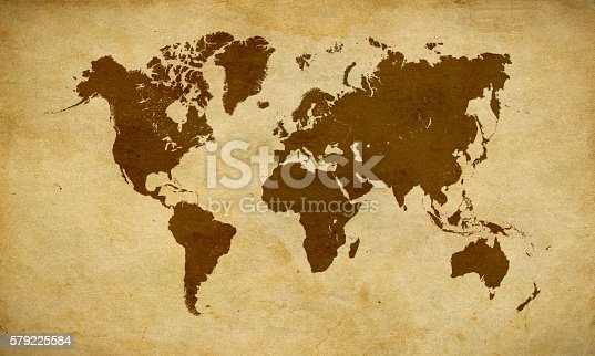 istock Black World map on old brown parchment 579225584