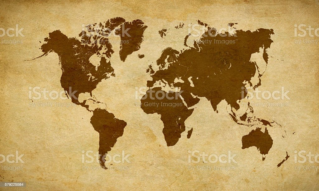 Black World map on old brown parchment stock photo