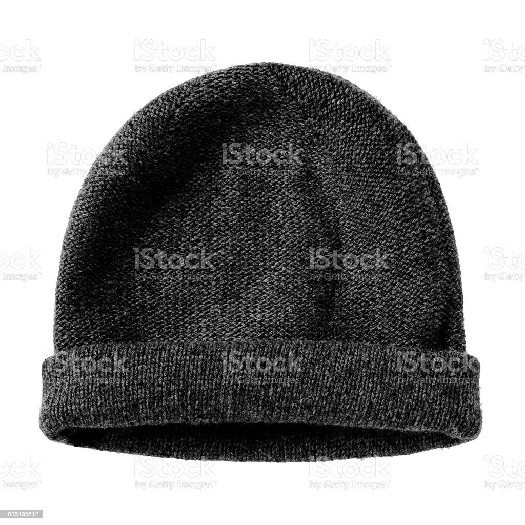 Noir d'hiver ver chapeau laine bonnet plat isolé sur blanc - Photo