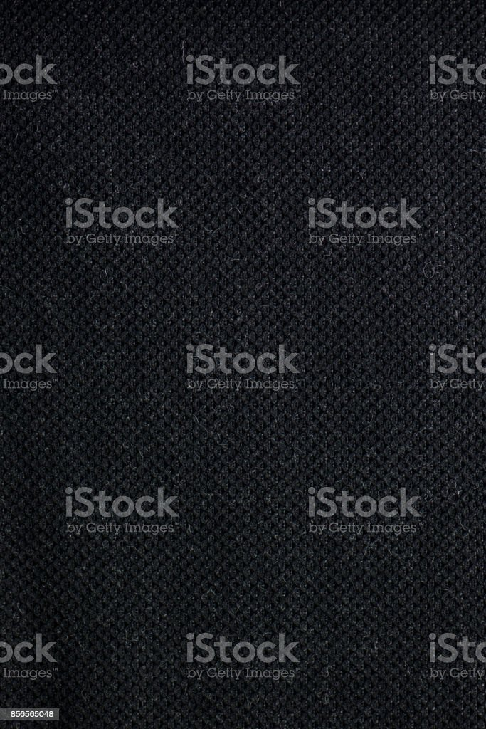 Black Woven Linted Textile Fabric Swatch stock photo