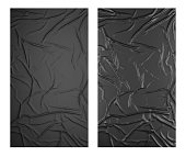 Black wrinkled poster template set. Isolated glued paper mockup.
