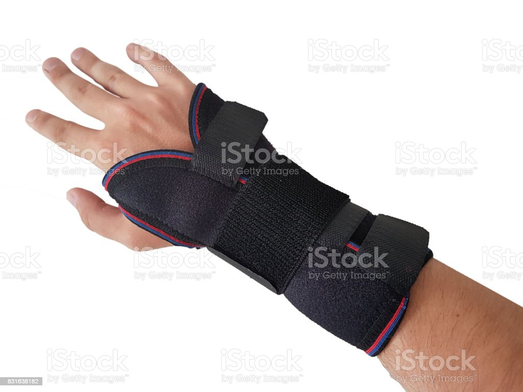 Black wrist splint for right hand male model. Isolated White background stock photo