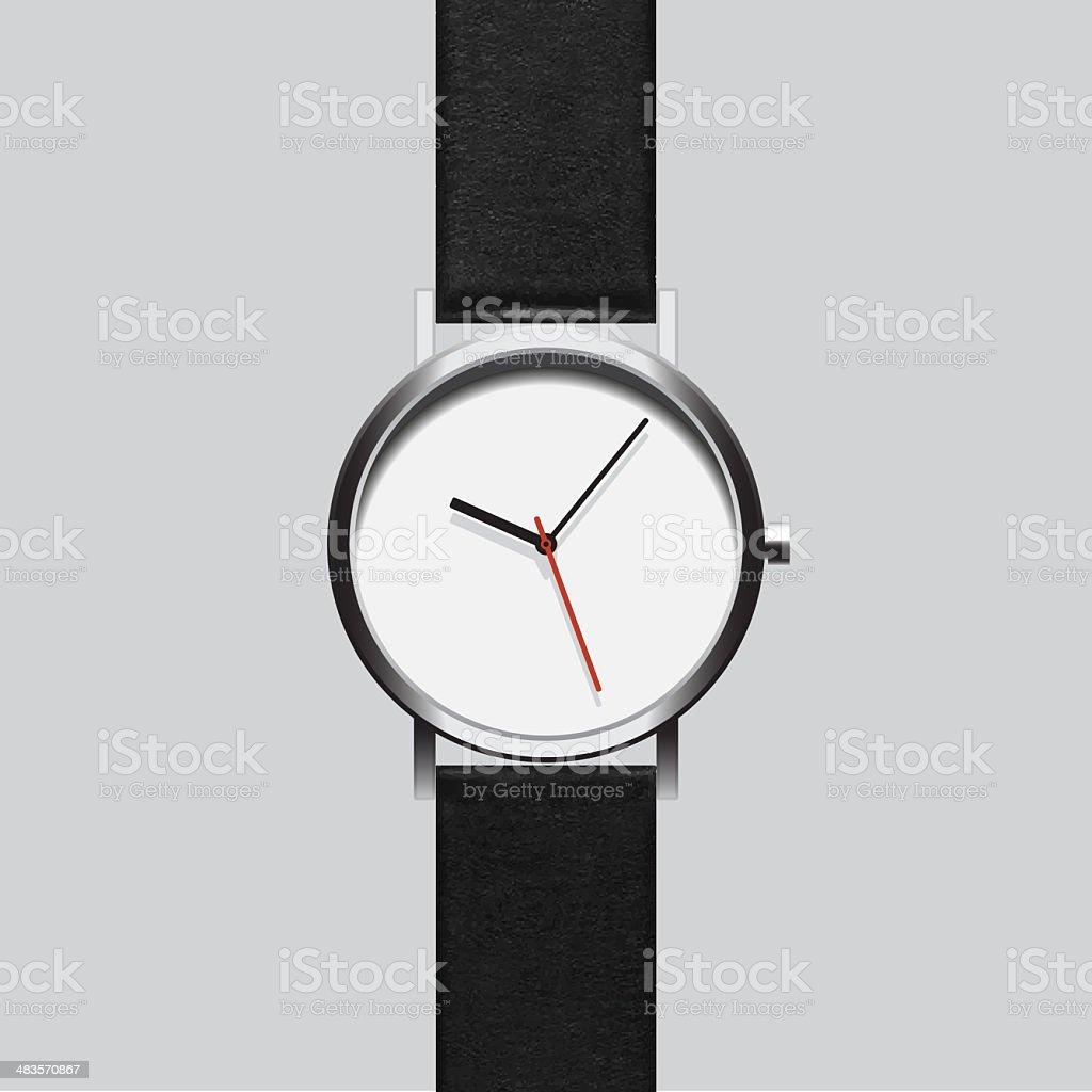 Black wristwatch on gray background stock photo