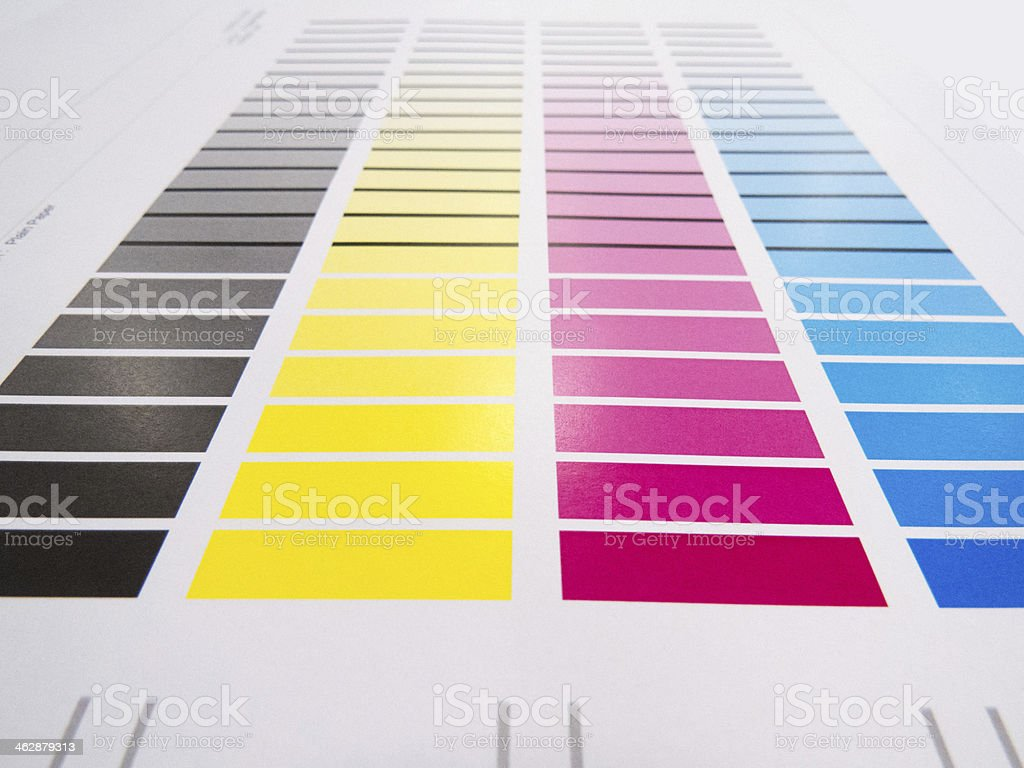 Black, yellow, pink, and blue color chart stock photo
