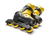 Black & yellow rollerblades isolated on white background 3d
