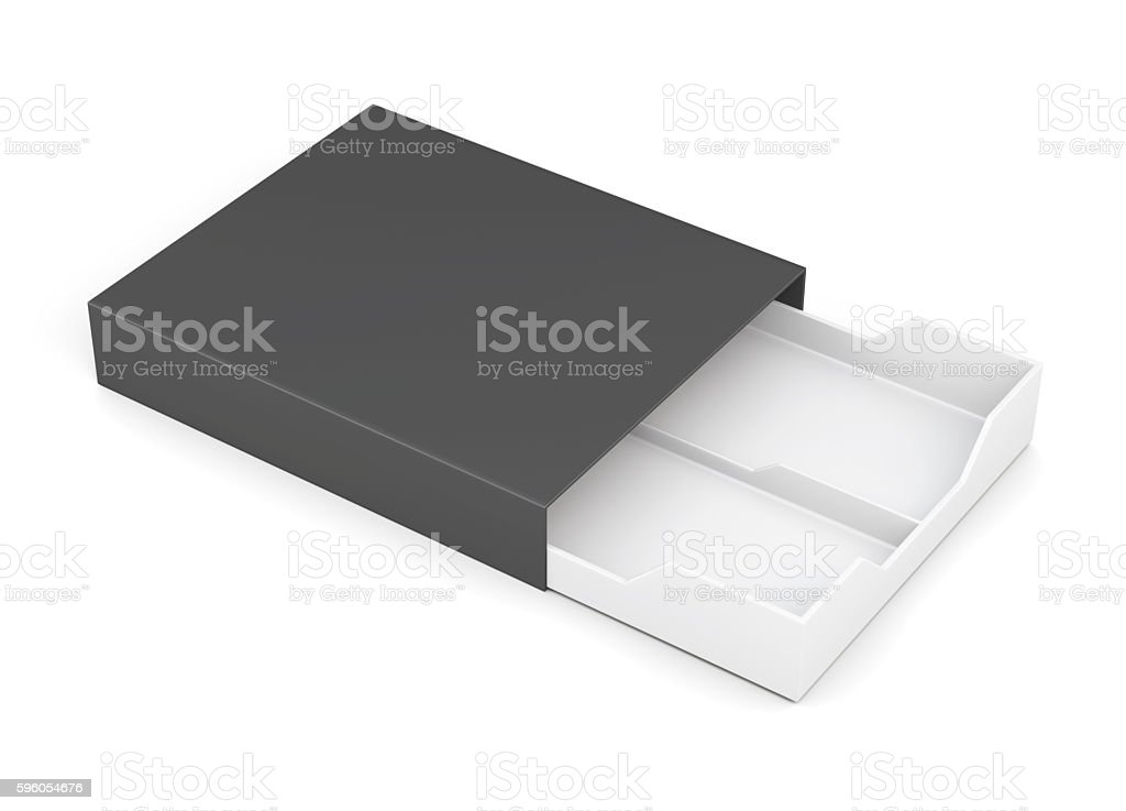 Black-and-white box of laminated cardboard on a white background stock photo