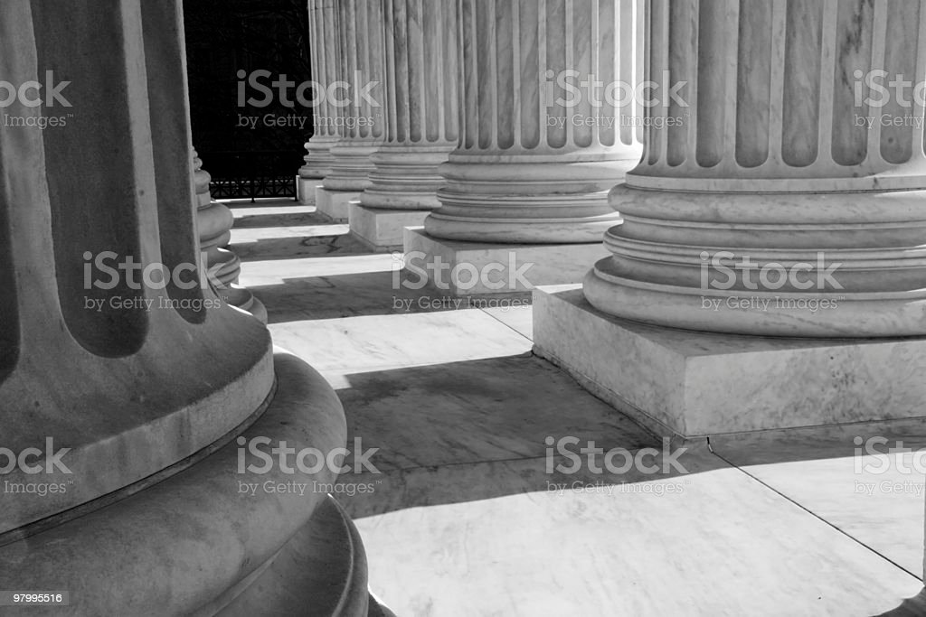 Black-and-White of U.S. Supreme Court Columns royalty-free stock photo