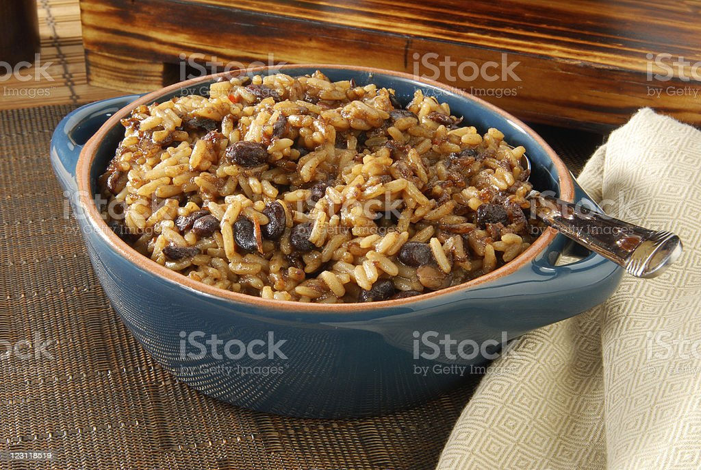 Blackbeans and rice stock photo