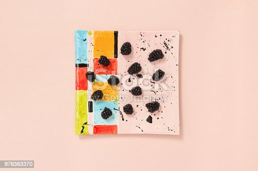 istock Blackberries on a colorful ceramic plate 976363370