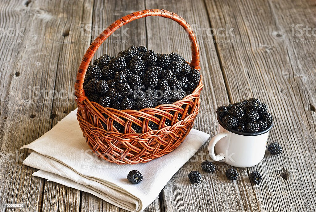 blackberries on wooden rustic table royalty-free stock photo