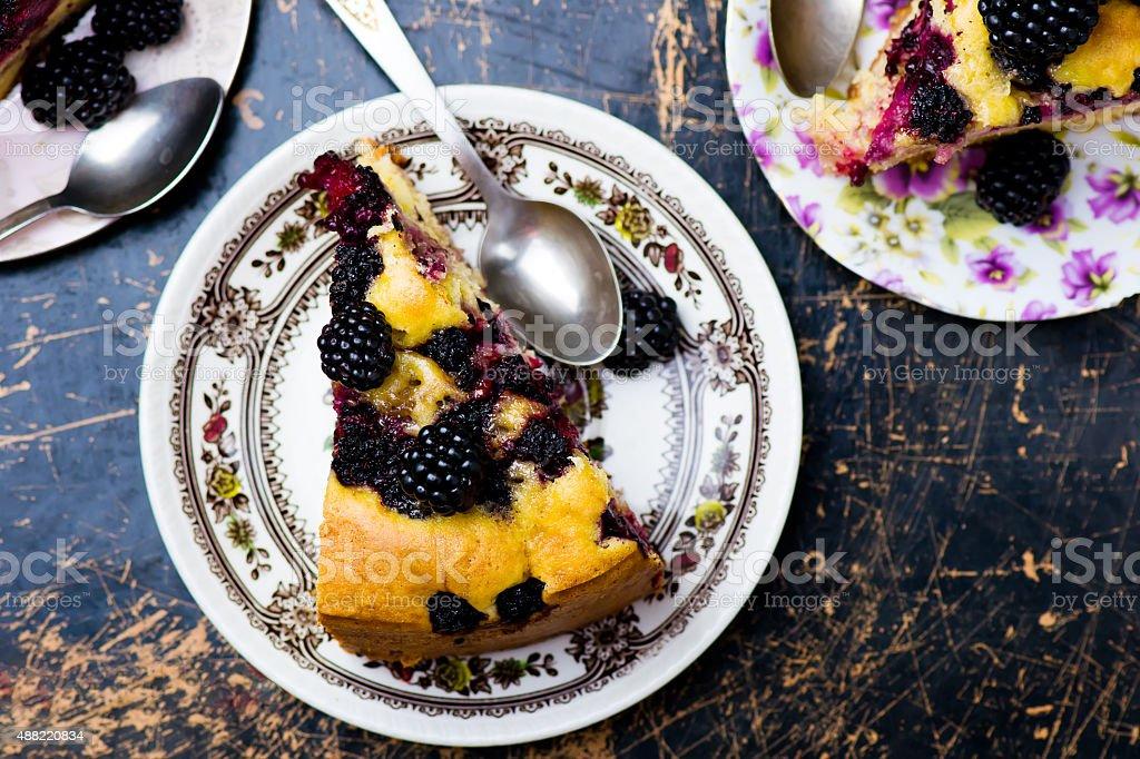 blackberry and apples pie stock photo