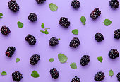 Blackberry and green leaves pattern on a purple background. Top view