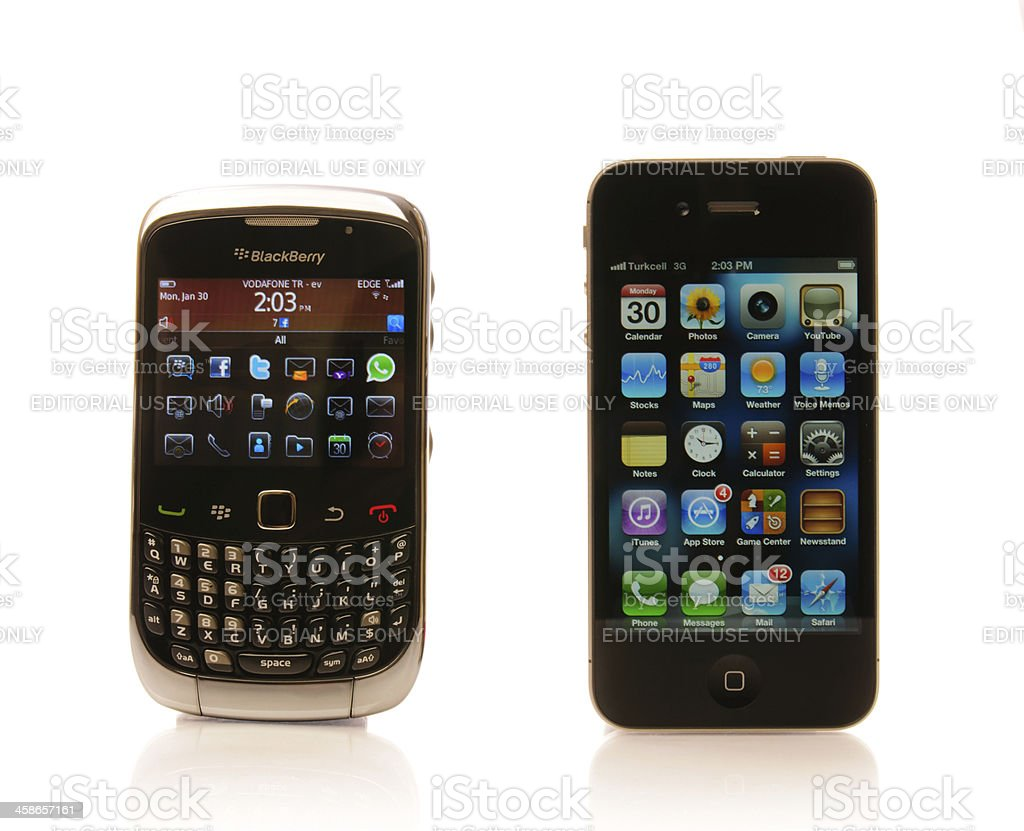 Blackberry and iPhone royalty-free stock photo